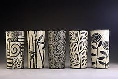 Cylinder Vases: Jennifer Falter: Ceramic Vessel | Artful Home - Zentangle gourd vases?