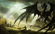「黒竜王と勇者ヤノーシュ」に登場、黒竜フェルニゲーシュのイメージ。でかい、黒い。きっと男前だったことでしょう。