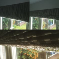 PY fabric Roman blind with 'Dangley Bits'