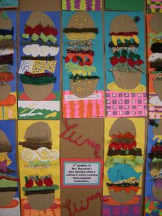 gd Hamburgers Artolazzi: Helen Keller Elementary Art Show! 3rd Grade Art Lesson, 4th Grade Art, Food Collage, Collage Art, Elements Of Art Texture, Art Elements, Texture Art Projects, School Art Projects, Clay Projects