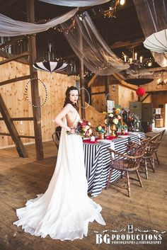 Beautiful bride, vintage circus wedding, barn wedding, rustic wedding, night circus wedding, headpiece, bridal make-up, wedding gown, Photo by BG Productions.