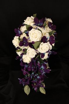 Cascading Dendrobium Orchid and Ivory Rose Brides Bouquet