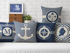 Mediterranean Navy Anchor Seafarer Boat Ocean Compass Voyage Linen Pillow Case