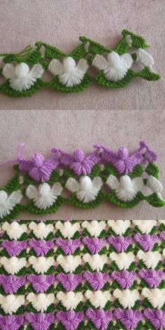 Pine Branch Fiber Model - Diy and craft Crochet Afghans, Crochet Motifs, Crochet Borders, Crochet Flower Patterns, Crochet Stitches Patterns, Baby Knitting Patterns, Crochet Designs, Crochet Flowers, Diy Crafts Crochet