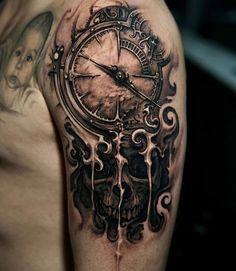 Clock & skull by James Strickland, an artist at Seven Tattoo Studio, Las Vegas. - Clock & skull by James Strickland, an artist at Seven Tattoo Studio, Las Vegas. Skull Tattoos, Forearm Tattoos, Body Art Tattoos, New Tattoos, Tattoo Arm, Clock Tattoos, Grey Tattoo, Mandala Tattoo, Cool Tattoos For Guys