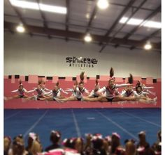 Shine Athletics senior 4 queens cheerleading team, toe touch, all star cheer toe touch