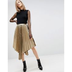 ASOS Metallic Pleated Midi Skirt with Hanky Hem ($53) ❤ liked on Polyvore featuring skirts, gold, tall skirts, high waisted pleated skirt, zipper skirt, asos skirts and high waisted knee length skirt