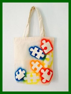 Autism Awareness Canvas Tote Bag Puzzle By Sundaybestclothingco Sensorythings Autism ~ autismus-bewusstseins-leinwand-taschen-taschen-puzzlespiel durch sundaybestclothingco sensorythings autismus Autism Awareness Crafts, Autism Crafts, Sewing Crafts, Sewing Projects, Jute Bags, Puzzle Pieces, Cloth Bags, Fabric Painting, Canvas Tote Bags