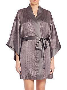 Josie Natori Textured Silk-Blend Wrap Robe - Grey - Size L