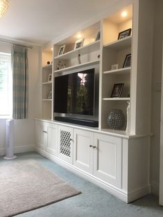 Wall Unit for Living Room Media Furniture Built In Tv Wall Unit, Built In Shelves Living Room, Living Room Bookcase, Living Room Wall Units, Living Room Storage, Home Living Room, Living Room Designs, Tv Wall Units, Tv Shelving Unit