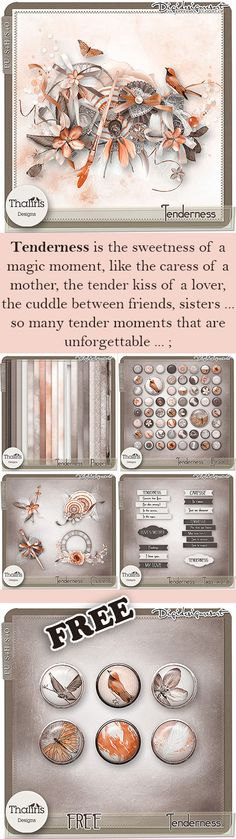 Tenderness - Kit (PU/S4H/S4O) by THaliris Designs - FREEBIE - Tenderness is the sweetness of a magic moment, like the caress of a mother, the tender kiss of a lover, the cuddle between friends, sisters ... so many tender moments that are unforgettable ... ; Tenderness is elegance because it is a perfect and magnificent moment; Tenderness is a gentle moment of sharing. Do you remember your most tender moment? #scrapbooking