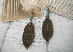 brass leaf ear rings drop ear rings bohemian ear by ShabbyRoad