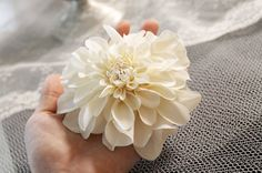 Cream Ivory Dahlia Chrysanthemum Fashion or Wedding Hair Flower Options for Birdcage Veil and Swarovski Crystals