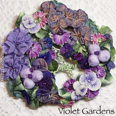 """Violet Gardens: the ribbonwork flowers were made from 3/8"""" or smaller ribbons."""