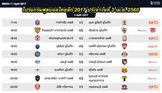โปรแกรมฟุตบอลไทยลีก 2017 ประจำวันที่ 3 เม.ย. 2560