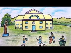 how to draw a clean environment nice step by step Easy Scenery Drawing, Landscape Drawing Easy, Easy Drawing Steps, Nature Drawing, Sun Drawing, House Drawing For Kids, Easy Drawings For Kids, Oil Pastel Drawings Easy, Drawing Competition