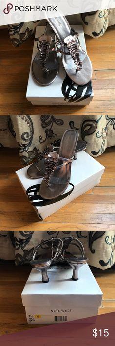 NWOT Pewter Kitten Heels New in box gorgeous pewter kitten heels. Nine West Shoes Heels