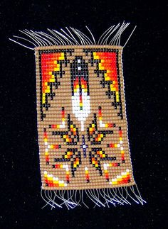 Navajo Burntwater Eagle Prayer Feather Seed Bead Weaving - Fall Harvest & Giving Thanks!          Zoom  This is very well made Navajo Burntwater Eagle Prayer Feather Seed Bead Weaving in warm Autumn Harvest tones...with nice tight weaving on the loom, great use of color and pattern, and in a very traditional theme that will will make a huge statement on any bracelet, pendant, women's hairband, unisex headband or hatband