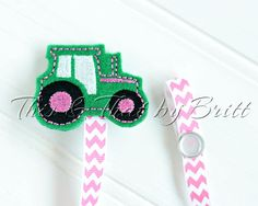 Pink Tractor Feltie- Pink Chevron Ribbon- Baby Pacifier Clip- Teething Ring Clip