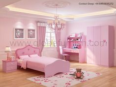 Baby Girl Room be like. Let your baby princess cherish her fairy dreams in her world Kids Bedroom Dream, Bed For Girls Room, Girls Room Paint, Little Girl Rooms, Study Room Decor, Living Room Decor Furniture, Pink Bedroom Decor, Pink Bedrooms, Kids Bedroom Designs