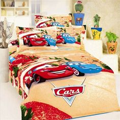 Mcqueen Car Bedding  Your sunny boy will love this Mcqueen Car print bedsheet.#krtifab presents this pattern which is attractive and would amuse your child to no end. Visit us at https://www.facebook.com/KrtiF