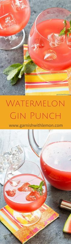 Watermelon Gin Punch is a gorgeous, make-ahead batch cocktail to refresh all of your guests at your next summer party. ~ http://www.garnishwithlemon.com