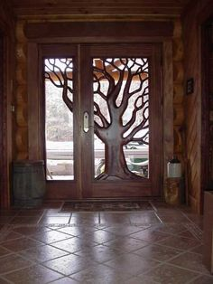 Doorway to the enchanted forest Old Doors, Entry Doors, Wood Glass, Glass Door, Casas Country, Log Home Living, Welcome To My House, Main Door Design, Earth Homes