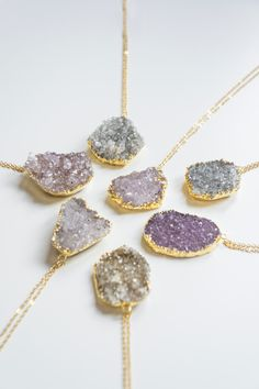 Druzy Necklace Crystal Necklace Amethyst Necklace Gemstone Necklace Birthstone Necklace Boho Necklace Tribal Necklace For Her (24.00 USD) by oliki