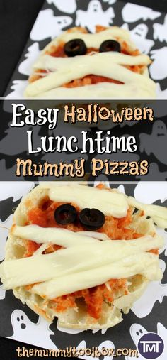 These mummy pizzas are a fun and quirky Halloween party snack or lunch that are easy to make, delicious and the kids can help too! Halloween Party Snacks, Easy Halloween, Thanksgiving Recipes, Holiday Recipes, Quick Recipes, Pizza Recipes, Easy Food To Make, Food Hacks, Family Meals