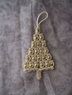 Macrame Ornament Christmas Tree Gold by magnumrx on Etsy
