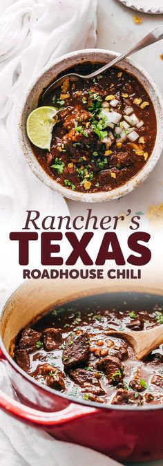 Rancher's Texas Chili (Chili con Carne) - Learn how to make texas chili or chili con carne! This is an easy recipe that uses chuck roast rather that ground beef and is so hearty and filling! recipes with ground beef Chilli Recipes, Mexican Food Recipes, Beef Recipes, Soup Recipes, Cooking Recipes, Chuck Roast Recipes, Meatless Recipes, Cooking Kale, Cooking Steak