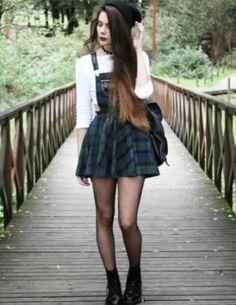 Green plaid schoolgirl dress