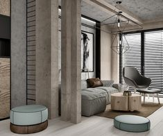 While the first home in this post used sleek modern design with a geometric twist and the second home combined rustic and industrial themes, this final apartment is the perfect combination of all four styles: modern, geometric, rustic, and industrial. The combination of materials used here are incredible, at once raw and luxurious.