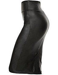 Simlu Faux Leather Pencil Skirt Below Knee Length Skirt Midi Bodycon Skirt Womens, USA
