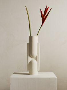 Large Ceramic Horizontally Carved Watertight Flower Vase Vase Thin Stripe Satin Matte Go Play Clay Light Grey Tin Glaze