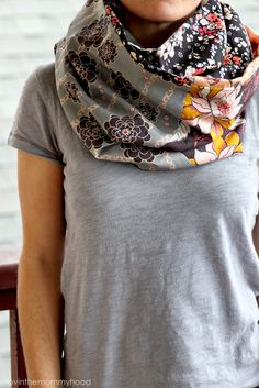 how to sew a two sided infinity scarf. (2013 new years resolution- learn to sew my own clothes)