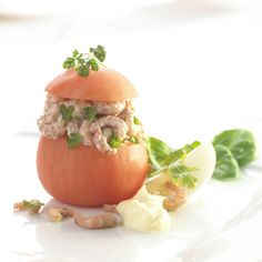 Tomates aux crevettes (in both flemish and french). Belgian classic. Tomatoes filled with shrimps and a home-made mayonnaise-like sauce, as an appetizer.