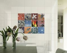 Integrated into your wall are art tiles, displaying beautiful colours in earthen tones.