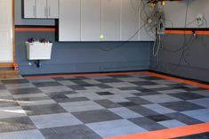 Grey And Orange Harley Davidson Motorcycle Themed Garage Walls Paint Garage Color Ideas, Garage Paint Colors, Wall Colors, Garage Ideas, Colours, Garage Interior, Interior Paint, Interior Design, Garage Design