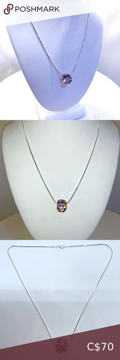Necklace Multicoloured Swarovski With Chain Sparkle up your look with this gorgeous Swarovski crystal pendant with 925 sterling silver chain.  Hand crafted to perfection, embellished with multicoloured Swarovski® crystals and set on acrylic.  Makes an excellent gift idea.  Comes included with an 18 inch 925 sterling silver chain, and Lobster claw clap.  Luxury gift box and certificate of authenticity included. www.laraglam.com Jewelry Necklaces