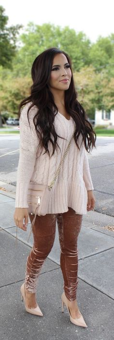 Cold weather outfit. How perfect is this for Thanksgiving or Christmas dinner. Gorgeous velvet leggings and beautiful nude/pink cable knit v-neck sweater.