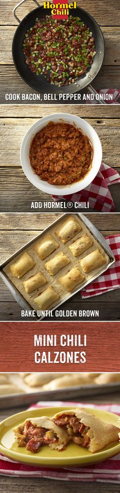 In Chili Nation, it's not the size of the calzone that matters. It's what you stuff it with. | HORMEL® Chili No Beans | Mini Calzones | Recipes | What to do with Crescent Roll Dough | Bacon Bell Pepper | Onion | Weeknight Dinner idea | Easy Weekend Lunch | Warm Meal Recipe |