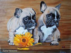 """Купить """"Дарю тебе цветочек""""-картина маслом - бежевый, щенки, бульдожки, гербера, картина в подарок"""