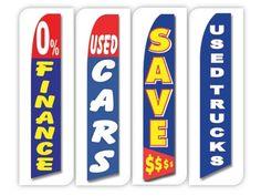 Used Cars Flag Windless Swooper 4 Lot Set Auto 0% Finance Save $ Trucks Blue Red #CarLotPromotions