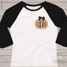 Monogram chevron pumpkin ADULT raglan shirt- perfect for all Fall activities