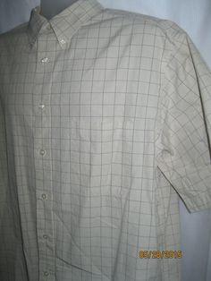 Mens ROUNDTREE & YORKE Dress Shirt Tan Brown Plaid Short Sleeve Cotton XL #roundtreeyorke