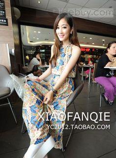 Impressive Sleeveless Chiffon Halter Floral Imprint Retro Dress