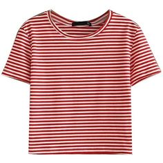 Red Stripe Short Sleeve Cropped T-shirt (520 UYU) ❤ liked on Polyvore featuring tops, t-shirts, shirts, blusas, cotton shirts, red striped t shirt, red t shirt, stripe t shirt and short t shirt