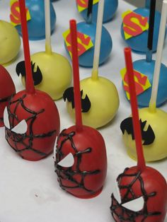 Superhero cake pops! If noah is still obsessed with Spiderman in July, I might have to make these!