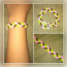 Pink, green and brown seed bead bracelet. Price - Rs 100/-